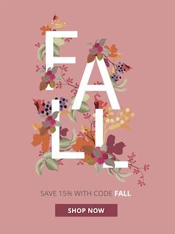 Banner de venta de otoño, otoño y acción de gracias para tamaños de anuncios móviles.