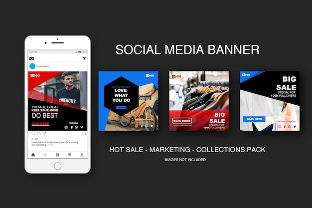 Banner venta paquete de colecciones de instagram