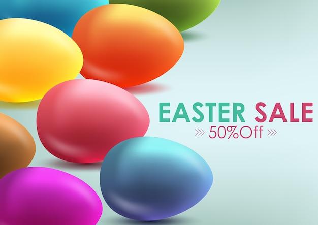 Banner de venta de pascua con hermosos huevos coloridos