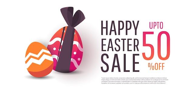 Banner de venta de pascua con huevos coloridos modernos.