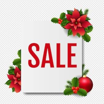 Banner de venta con poinsettia roja de navidad en transparente
