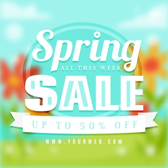 Banner de venta de primavera borrosa