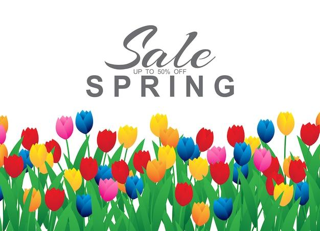 Banner de venta de primavera con coloridas flores de tulipán