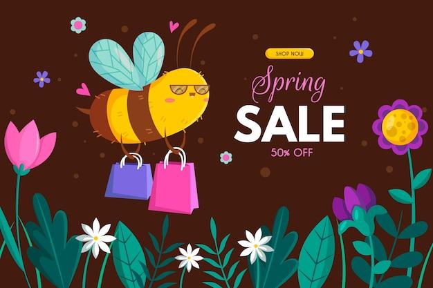 Banner de venta de primavera de diseño plano