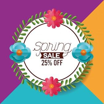 Banner de venta de primavera con flores, 25% de descuento