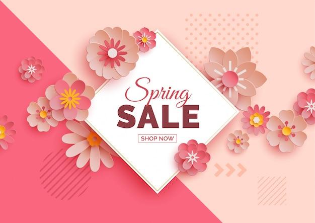 Banner de venta de primavera con flores de papel