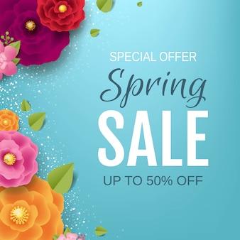 Banner de venta de primavera con flores