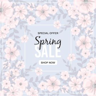 Banner de venta de primavera con hermosas flores de colores.