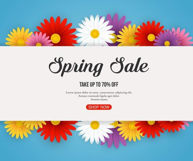 Banner de venta de primavera con hermosas flores de colores