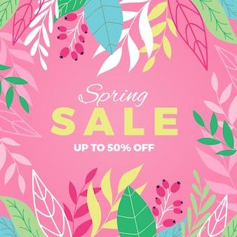 Banner de venta de primavera con hojas
