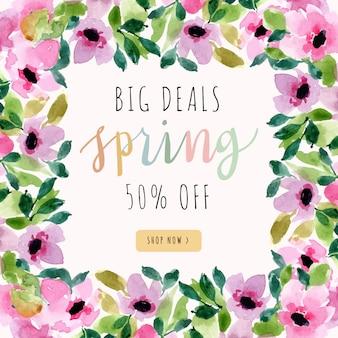 Banner de venta de primavera con marco floral acuarela rosa