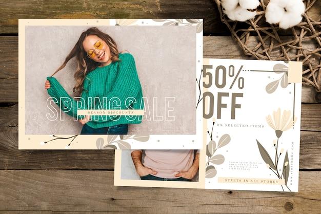 Banner de venta de primavera con modelo