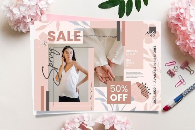 Banner de venta de primavera con oferta especial