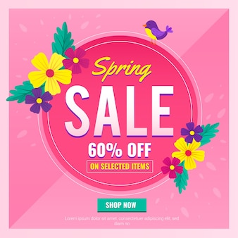 Banner de venta de primavera plana con oferta especial