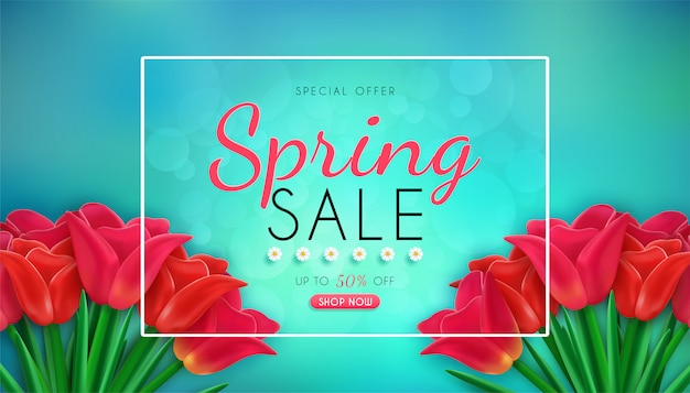 Banner de venta de primavera con tulipanes