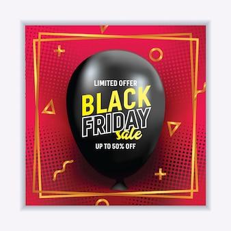 Banner de venta realista viernes negro con globo