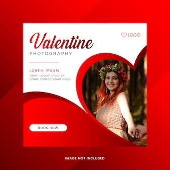 Banner de venta de redes sociales del día de san valentín