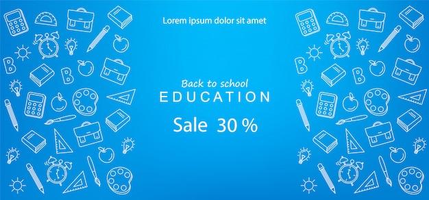 Banner de venta de regreso a la escuela para descuentos y ofertas educativas