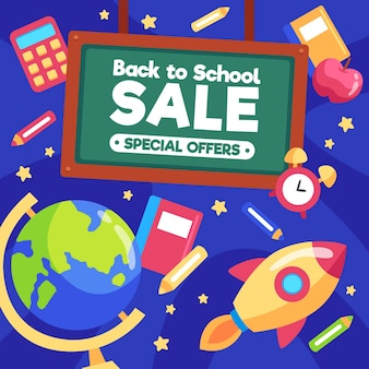 Banner de venta de regreso a la escuela de diseño plano