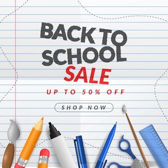 Banner de venta de regreso a la escuela en papel.