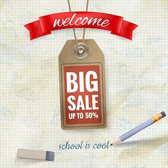 Banner de venta de regreso a la escuela.