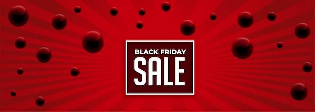 Banner de venta rojo abstracto viernes negro