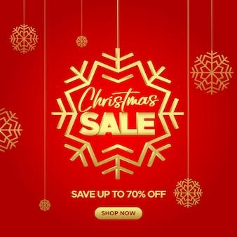 Banner de venta rojo de navidad con copos de nieve dorados para web y redes sociales