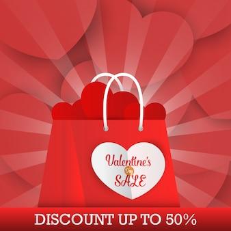 Banner de venta de san valentín con bolsa de compras