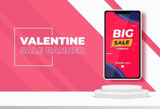 Banner de venta de san valentín con escena de podio 3d para exhibición o colocación de productos