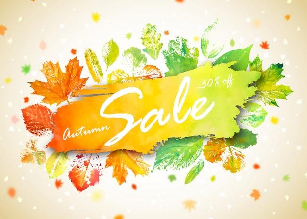 Banner de venta de temporada de otoño. concepto de publicidad de otoño con hojas de otoño acuarela dibujada a mano
