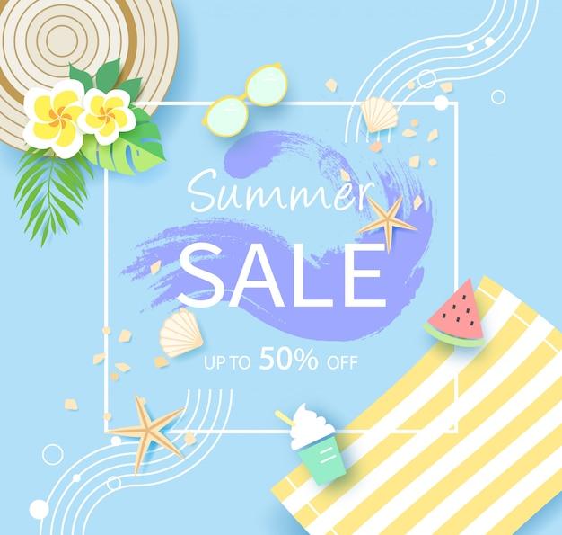 Banner de venta de temporada de verano, hasta 50% de descuento.
