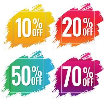 Banner de venta con texto en color con fondo blanco de manchas