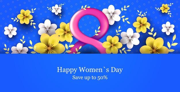 Banner de venta de vacaciones del día de la mujer del 8 de marzo