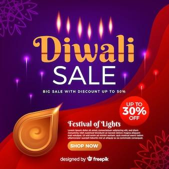 Banner de venta de vacaciones diwali realista