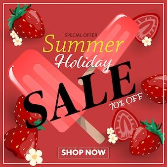 Banner de venta de vacaciones de verano.