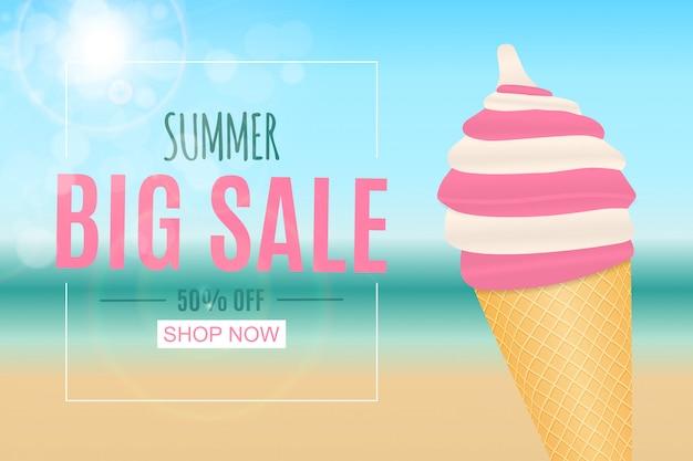 Banner de venta de verano abstracto con helado. ilustración vectorial