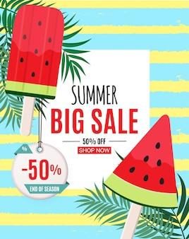 Banner de venta de verano abstracto con helado de sandía. final de temporada. ilustración vectorial
