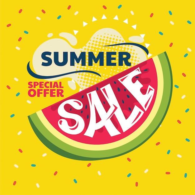 Banner de venta de verano abstracto con sandía y hoja tropical