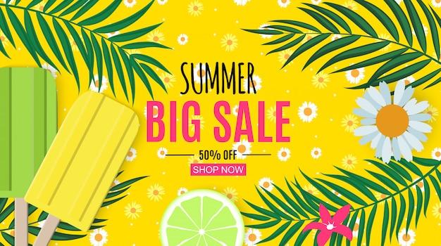 Banner de venta de verano abstracto