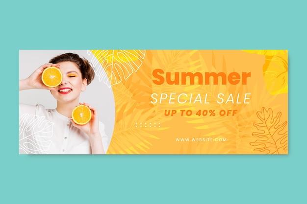 Banner de venta de verano en acuarela pintado a mano con foto
