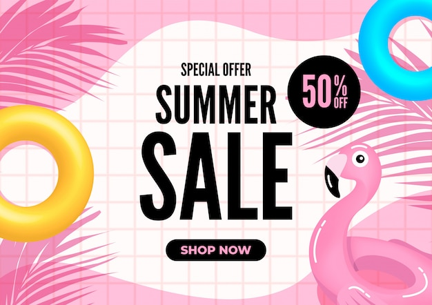 Banner de venta de verano. azulejos rosas con hojas de palmera y flotadores de piscina.