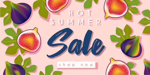Banner de venta de verano caliente con higos