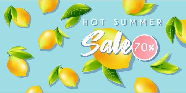 Banner de venta de verano caliente con limones.