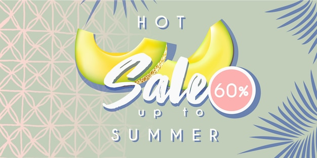 Banner de venta de verano caliente con melón