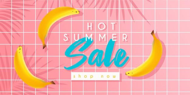 Banner de venta de verano caliente con plátanos