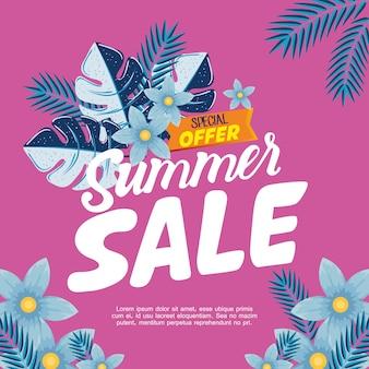 Banner de venta de verano, cartel de descuento de temporada con flores y hojas tropicales, invitación para comprar con etiqueta de oferta especial de venta de verano