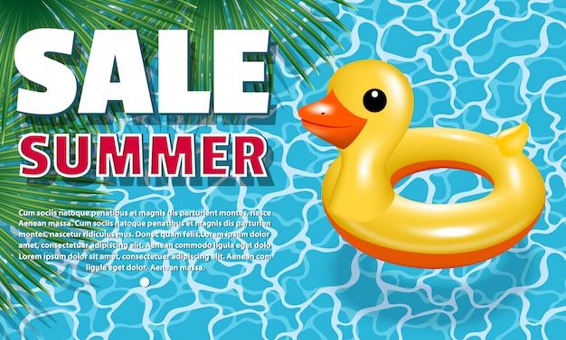 Banner de venta de verano. círculo inflable - patito amarillo