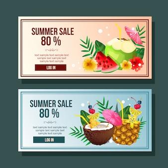 Banner de venta de verano cóctel bebida decoración vector horizontal ilustración