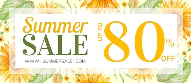 Banner de venta de verano con decoración floral dibujada a mano