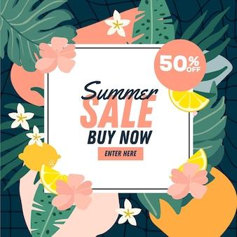 Banner de venta de verano para descuento de compras